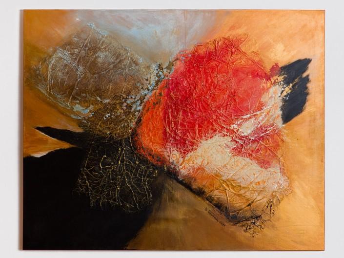Nowoczesny obraz namalowany w ciepłych barwach